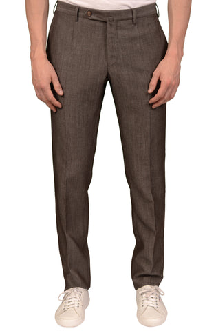 INCOTEX (Slowear) Brown Patterned Wool-Linen Flat Front Dress Pants NEW Slim Fit