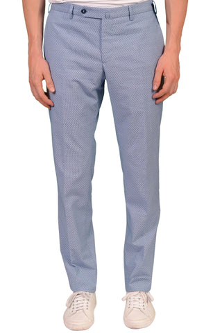 INCOTEX (Slowear) Blue Stretch Wool-Cotton Flat Front Dress Pants NEW Slim Fit