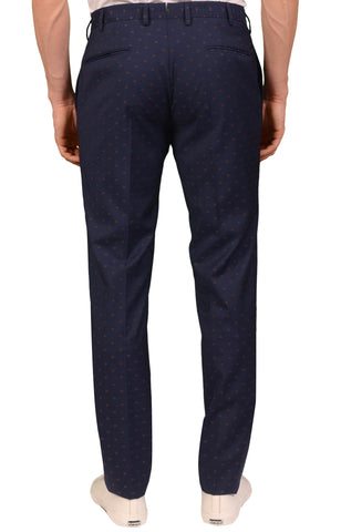 INCOTEX (Slowear) Navy Blue Medallion Wool Flat Front Dress Pants NEW Slim Fit