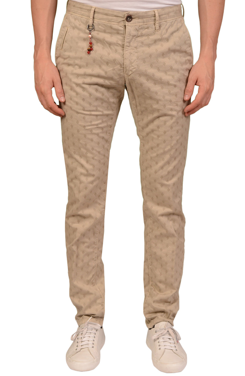INCOTEX (Slowear) Slacks Beige Medallion Cotton Stretch Skin Fit Pants NEW