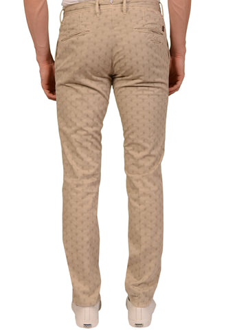 INCOTEX (Slowear) Slacks Beige Medallion Cotton Stretch Skin Fit Pants NEW US 31