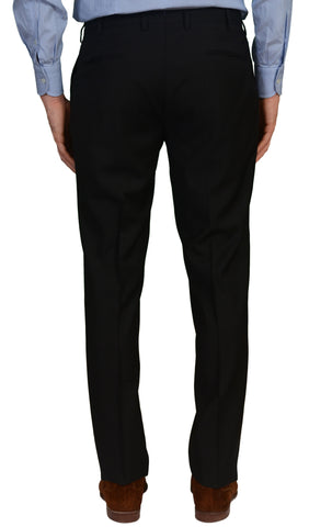 INCOTEX (Slowear) Black Wool Flat Front Dress Pants NEW Slim Fit