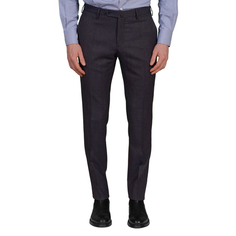 INCOTEX (Slowear) Blue Patterned Wool Flat Front Slim Fit Pants NEW