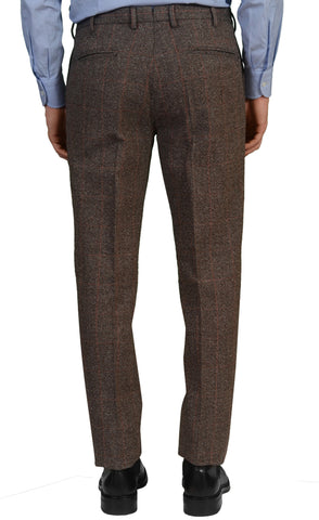 INCOTEX (Slowear) Brown Windowpane Wool-Cotton Flat Front Slim Fit Pants NEW