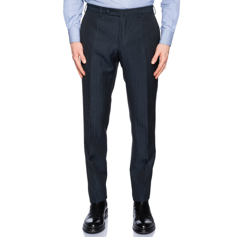 INCOTEX (Slowear) Dark Blue Herringbone Wool-Linen Flat Front Pants NEW Slim Fit