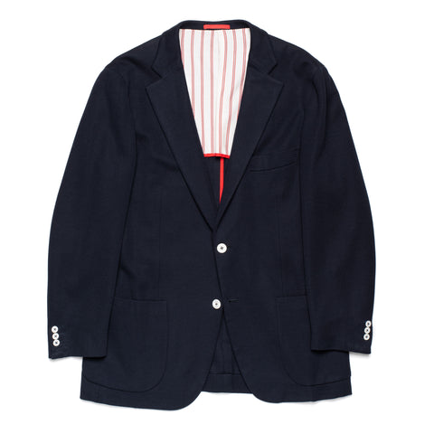 "ISAIA Napoli ""Dustin"" Navy Blue Cotton Jersey Blazer Jacket EU 52 NEW US 42"