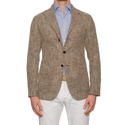 "ISAIA ""Augus"" Brown Basket Weave Cotton-Linen-Silk Unlined Jacket 50 NEW US 40"