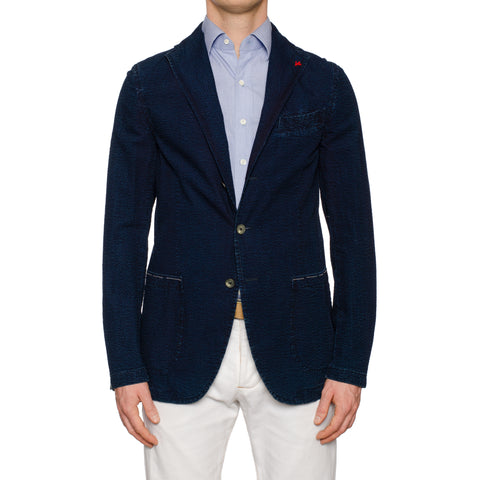 "ISAIA ""Augusto Indigo Wash"" Blue Seersucker Denim Unlined Jacket EU 50 NEW US 40"