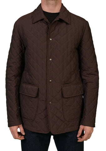 "ISAIA NAPOLI ""A'LIVELLA"" Solid Brown Poly Quilted Waterproof Aqua Jacket NEW - SARTORIALE - 1"