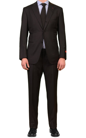 "ISAIA NAPOLI ""Base L"" Black Striped Super 130's Wool Suit NEW US 50 EU 60"