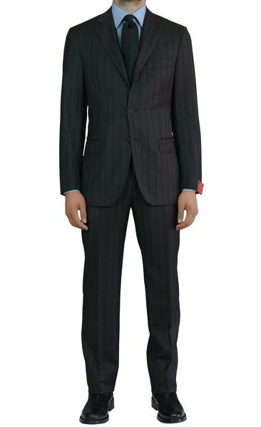 "ISAIA NAPOLI ""Reggia"" Diplomat Brown Striped Wool Suit EU 48 NEW US 38 Defect - SARTORIALE - 1"