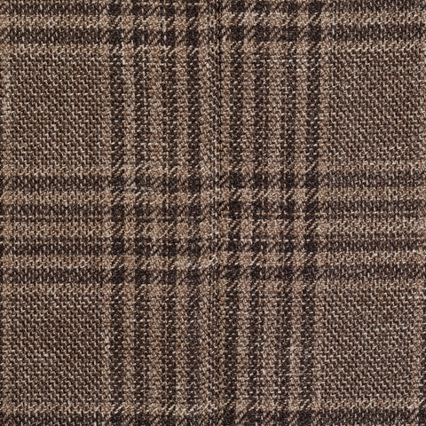 "ISAIA Napoli ""Augus"" Brown Plaid Wool-Silk-Linen Unlined Jacket EU 50 NEW US 40"