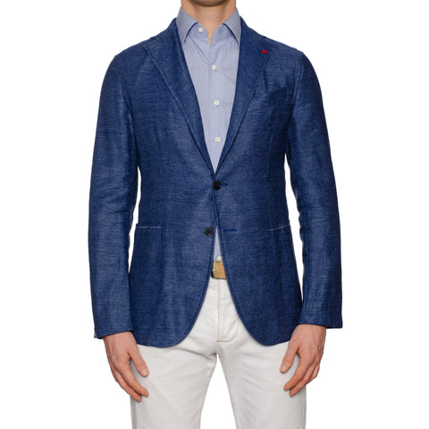 "ISAIA Napoli ""Augus"" Handmade Blue Linen-Wool Unlined Jacket EU 50 NEW US 40"