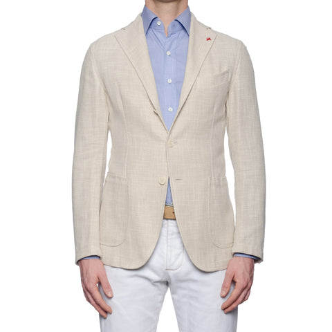 "ISAIA Napoli ""Augus"" Ivory Hopsack Cotton-Linen-Silk Unlined Jacket 50 NEW US 40"