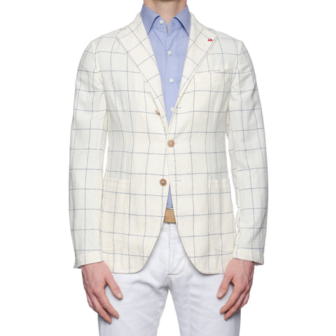"ISAIA ""Augus"" Off-White Plaid Linen-Cotton Boucle Unlined Jacket EU 50 NEW US 40"