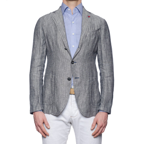 "ISAIA Napoli ""Augusto"" Handmade Gray Herringbone Linen Unlined Jacket 50 NEW 40"