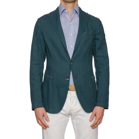 "ISAIA Napoli ""Augusto"" Blue Washed Cotton-Linen Unlined Jacket EU 50 NEW US 40"