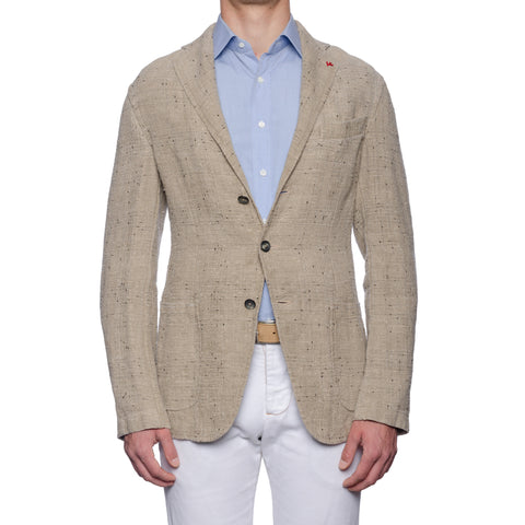 "ISAIA Napoli ""Augusto"" Washed Beige Linen Unlined Jacket EU 50 NEW US 40"