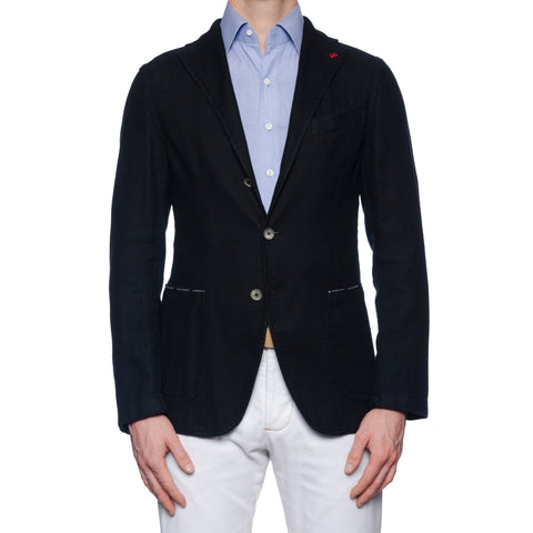 "ISAIA ""Augusto"" Washed Black Hopsack Cotton-Linen Unlined Jacket 50 NEW US 40"