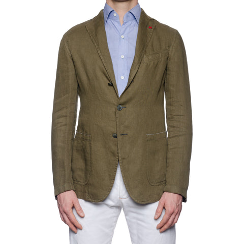 "ISAIA Napoli ""Augusto"" Washed Olive Linen Unlined Jacket EU 50 NEW US 40"