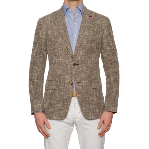 "ISAIA Napoli ""Balthazar"" Brown Linen-Cotton Jacket EU 50 NEW US 40"