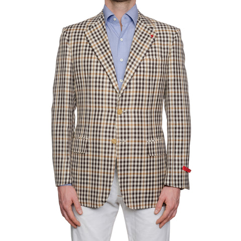 "ISAIA Napoli ""Base E"" Beige Wool-Linen-Silk Sport Coat Jacket EU 50 NEW US 40"