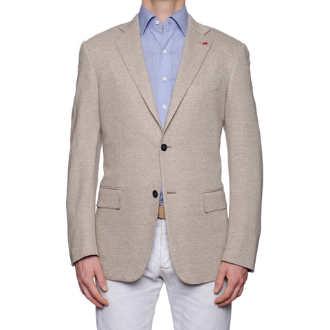 "ISAIA Napoli ""Base S"" Beige Cotton-Linen Jersey Jacket EU 50 NEW US 40"