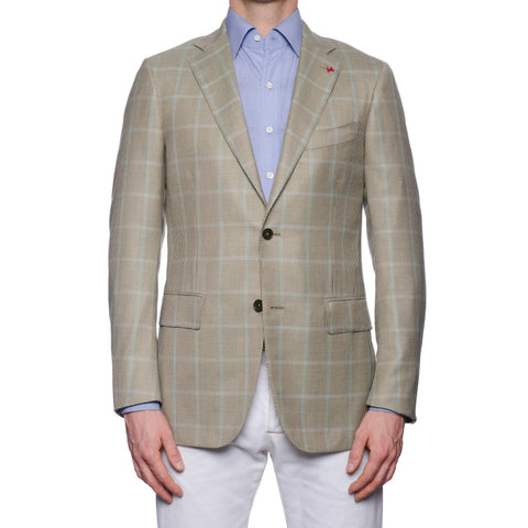 "ISAIA Napoli ""Base S"" Beige Houndstooth Cashmere-Silk Jacket EU 50 NEW US 40"
