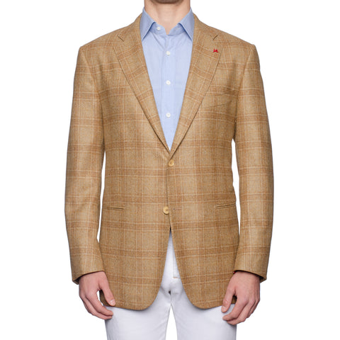 "ISAIA Napoli ""Base S"" Beige Plaid Wool Tweed Sport Coat Jacket EU 58 NEW US 48"
