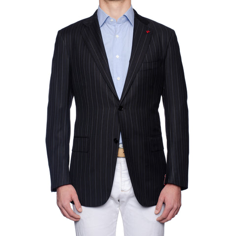 "ISAIA ""Base S"" Black Herringbone Striped Wool Super 130's Jacket EU 54 NEW US 44"