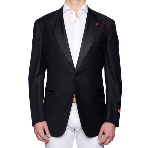 "ISAIA Napoli ""Base S"" Black Wool Aquaspider Smoking Dinner Jacket 58 NEW US 48"