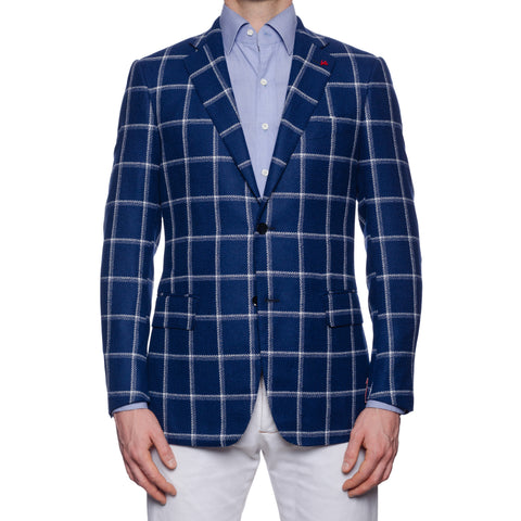 "ISAIA Napoli ""Base S"" Blue Plaid Wool-Cotton Boucle Jacket EU 50 NEW US 40"