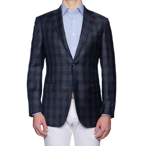 "ISAIA Napoli ""Base S"" Blue Plaid Wool Super 130's Jacket EU 52 NEW US 42"