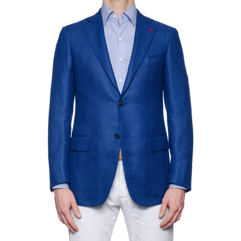 "ISAIA Napoli ""Base S"" Blue Silk-Linen-Wool Sport Coat Jacket EU 48 NEW US 38"
