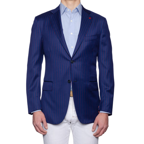 "ISAIA Napoli ""Base S"" Blue Striped Wool Super 130's Jacket EU 52 NEW US 42"