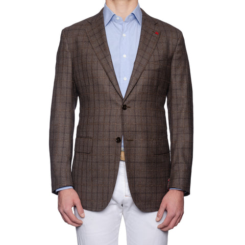 "ISAIA Napoli ""Base S"" Brown Plaid Wool Super 130's Jacket EU 54 NEW US 44"