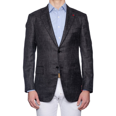 "ISAIA Napoli ""Base S"" Dark Gray Chambray Silk-Cashmere-Linen Jacket 54 NEW US 44"