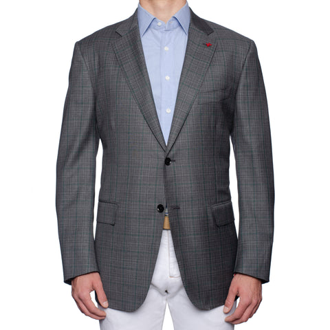 "ISAIA Napoli ""Base S"" Gray Plaid Wool Super 140's Jacket EU 60 NEW US 50"