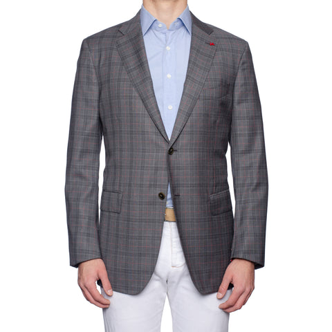 "ISAIA Napoli ""Base S"" Gray Plaid Wool Super 160's Aquaspider Jacket 56 NEW US 46"