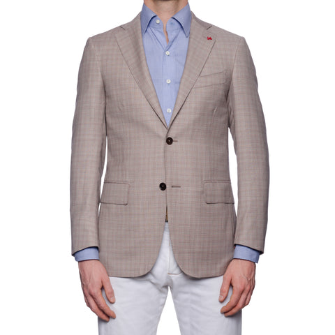 "ISAIA Napoli ""Base S"" Gray Plaid Wool Super 160's Aquaspider Jacket EU 46 NEW 36"