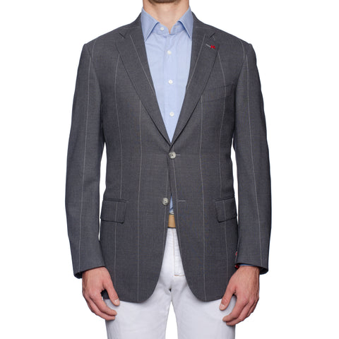 "ISAIA Napoli ""Base S"" Gray Striped Wool Sport Coat Jacket EU 54 NEW US 44"