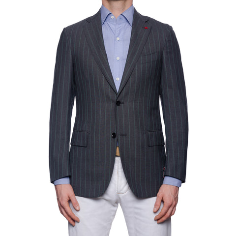 "ISAIA Napoli ""Base S"" Gray Striped Wool Super 130's Jacket EU 48 NEW US 38"