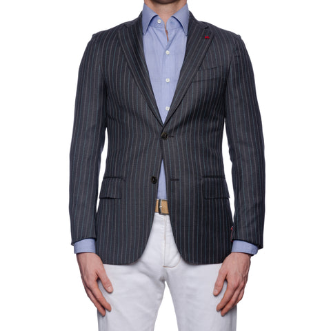 "ISAIA Napoli ""Base S"" Gray Striped Wool Super 140's Jacket EU 44 NEW US 34"