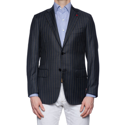 "ISAIA Napoli ""Base S"" Gray Striped Wool Super 140's Jacket EU 48 NEW US 38"