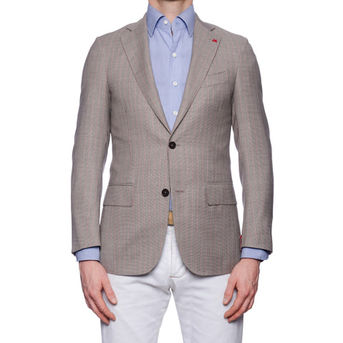 "ISAIA Napoli ""Base S"" Gray Striped Wool Super 160's Aquaspider Jacket 44 NEW 34"