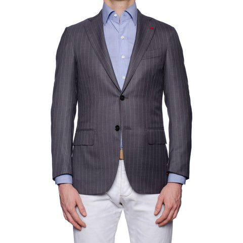 "ISAIA Napoli ""Base S"" Gray Striped Wool Super 180's Jacket EU 44 NEW US 34"