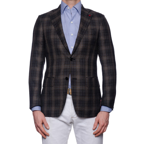 "ISAIA Napoli ""Base S"" Gray Tartan Plaid Cashmere-Silk Jacket EU 44 NEW US 34"