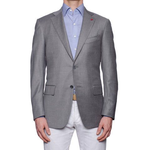 "ISAIA Napoli ""Base S"" Gray Wool Light Flannel Sport Coat Jacket EU 50 NEW US 40"