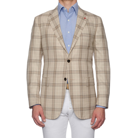 "ISAIA Napoli ""Base S"" Handmade Beige Plaid Wool-Silk Sport Coat Jacket 54 NEW 44"