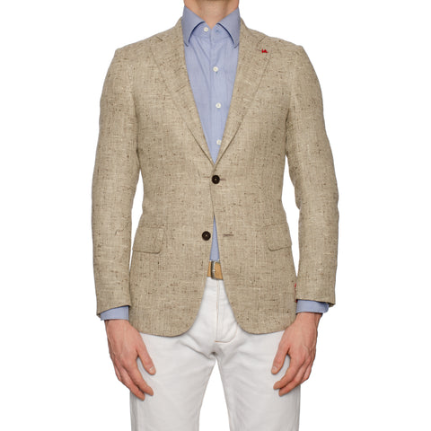 "ISAIA Napoli ""Base S"" Handmade Beige Silk-Linen Donegal Jacket EU 44 NEW US 34"
